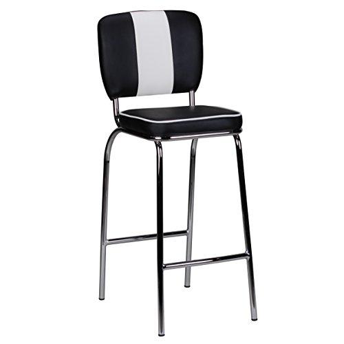 Wohnling Barhocker American Diner 50er Jahre Retro Barstuhl, Sitzfläche gepolstert mit Rücken-Lehne, Thekenstuhl mit Fußstütze, Sitzhöhe 76 cm, schwarz weiß