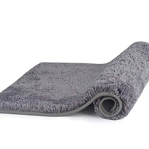 Badezimmerteppich Badematte rutschfest 50 x 80 cm,Flauschige Mikrofaser Badteppich ,Weich badvorleger Anti-Rutsch Badeteppich Maschinenwaschbare Bad teppiche(grau)