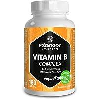 Vitamaze® Vitamina B Complex con 180 tabletas veganas de dosis alta del para 6 meses de suministro B1, B2, B3, B5, B6, B7, B9, B12 Hecho en Alemania sin estearato de magnesio