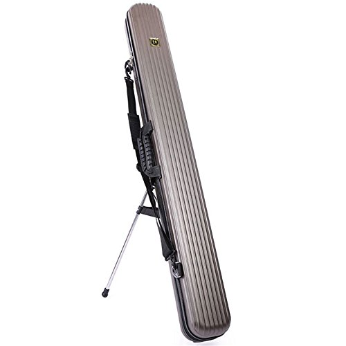 (Aofit)ハードロッドケース 防水性 耐用性 耐衝撃性 釣りロッド収納 大容量 ロッド固定 ロッド保護ケース ホルダースタンド付き 125cm ブラウン