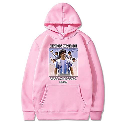 HUSTLE Sudadera con capucha estampada en 3D, de Diego Legends Fútbol, Maradona, informal, de manga larga, unisex, homenaje al rey de la pelota, color rosa, S