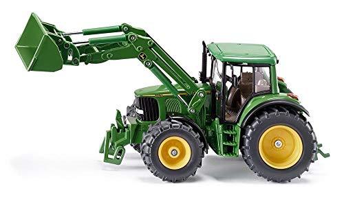 siku 3652, John Deere Traktor mit Frontlader, 1:32, Metall/Kunststoff, Grün, Beweglicher Frontlader, Abnehmbare Fahrerkabine