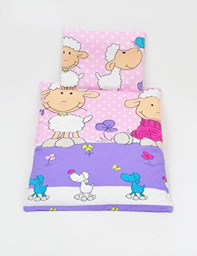 Completo conjunto set de carrito cochecito de nino bebé 80x70 (colcha) (patrón: ovejitas y treboles_rosa)
