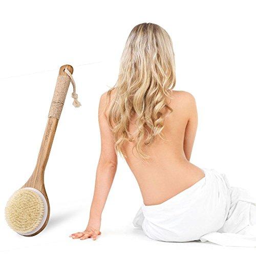 Back Brush Long Handle Wood Bath Body Brush Exfoliator Natural Boar Bristles for Shower, Wet or Dry Brushing