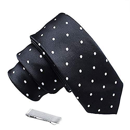 Herren Krawatte mit Krawattenklammer aus Polyester, gepunktet, in Geschenkbox - Schwarz - 5 cm Breite