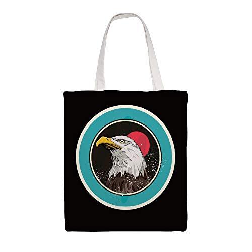 Bolsa de transporte de lona de doble cara con águila calva, icono feroz para mujeres, para almacenamiento, bolsas reutilizables, bolsas de la compra, lavables para exteriores de 15 x 16,1 pulgadas