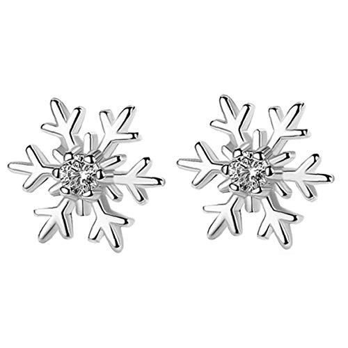 Le donne argento 925 cave del fiocco di neve Orecchino zircone dell'orecchio dei monili per la femmina