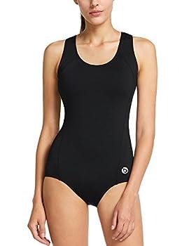 BALEAF Women s Conservative Athletic Racerback One Piece Training Swimsuit Swimwear Bathing Suit Black 36