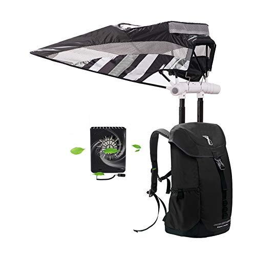 HSJCZMD Rucksack mit Sonnenschirm, Fahrrad-Rucksack, Sonnenschirm mit Klimaanlage, ultraleichter Regenschirm, Schultasche für Fitness, Laufen, Wandern, Klettern, Schwarz