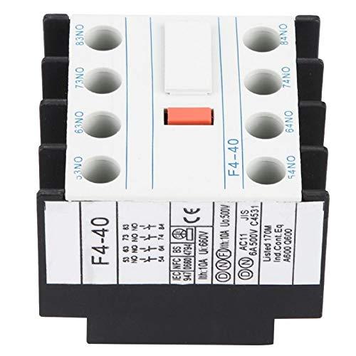 Jeanoko Contactor Auxiliar Fácil Montaje F4-40 Auxiliar para la Industria