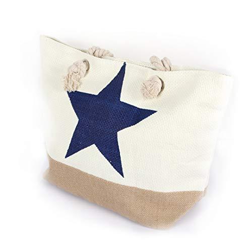 Delindo Lifestyle® Strandtasche STERN XL mit Reißverschluss auch als große Badetasche mit Kordel Tragegriffen