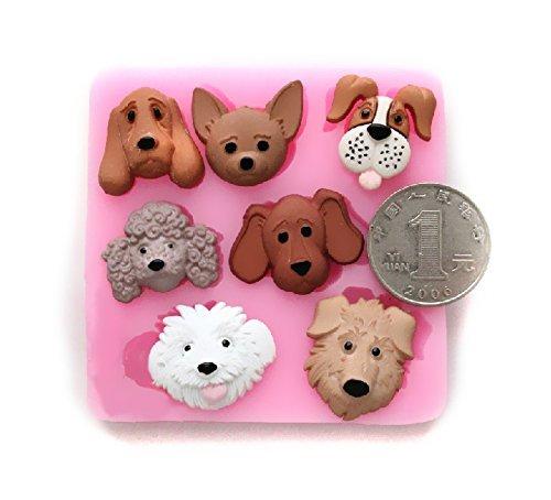 Allforhome 7 cavité chiens belle main chiot de silicone fondant Mold bonbons moule gâteau de bricolage décoration Moules Fondant Outil