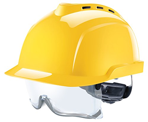 MSA V-Gard 930 Profihelm | Entspricht DIN EN397 | mit Belüftung und Drehradregelung Fasttrack | inkl. Integriertem Schutzvisier/Schutzbrille | Farbe: Gelb