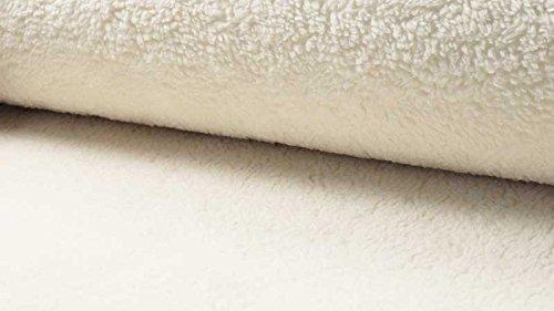 Qualitativ hochwertiger Teddystoff aus Baumwolle als Meterware zum Nähen von Baby, Kinder- und Damenkleidung, 50 cm (Natur)