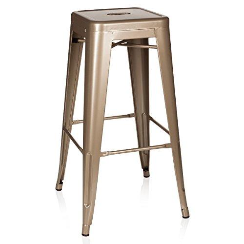 hjh OFFICE 645013 taburete de bar VANTAGGIO HIGH métalico color champán / dorado, apilable, acero estable