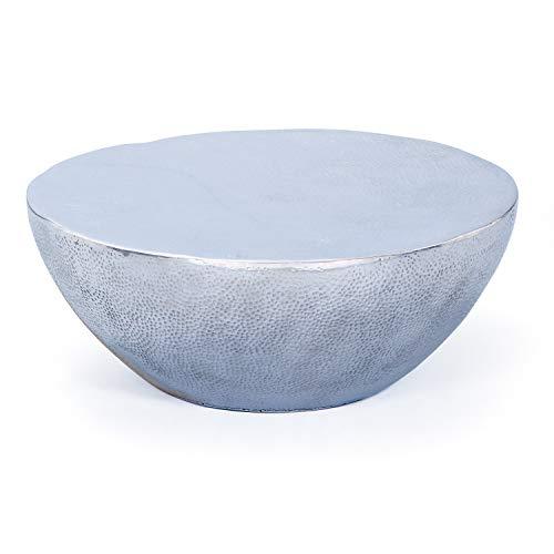 Inter Link Couchtisch Lounge Tisch Design Wohnzimmertisch Beistelltisch Aluminium silber Hammerschlag Optik rund 70 cm