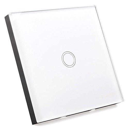 TOOGOO(R) Interruptor de pared con pantalla táctil y mando a distancia, 1 vía, color negro, SPHAGT64333