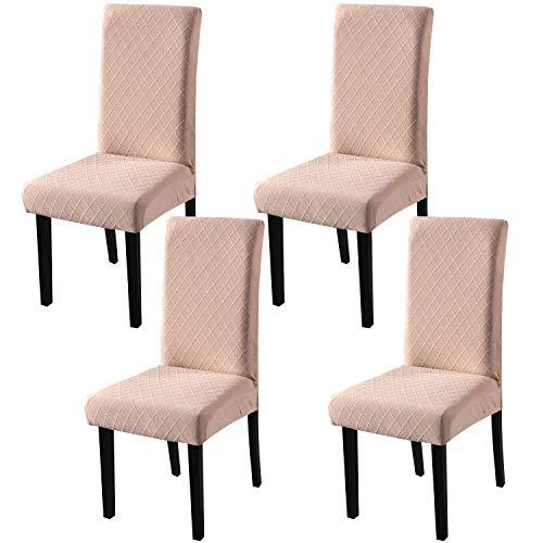 YISUN Universal Stretch Stuhlhussen 4er 6er Set Stuhlbezug für Stuhl Esszimmer (4er Set, Kamel)
