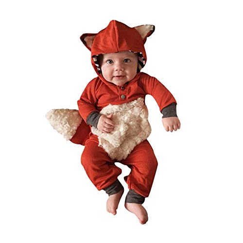Newborn Baby Girl Boy Halloween Cosplay Cartoon Clothes Fox Coat Fur Bodysuit Jumpsuit Hooded Playsuit Romper Overall Outfit (Orange, 0-6 Months)