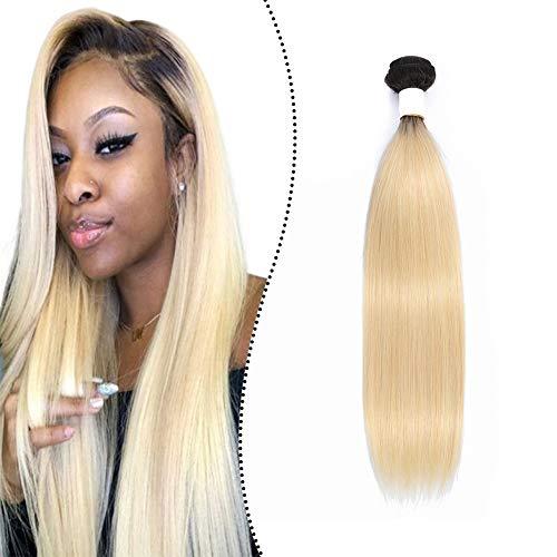 Ugeat Remy Echthaar Tressen Weave Haarverlangerung Verdichtung zum Einnahen 100Gramm/Bundle Brasilianische Haartressen fur Weaving Glatt (Naturliches Schwarz Ombre Blond T#1B/613, 28Zoll)
