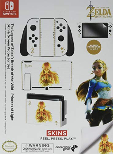 "Controller Gear Nintendo Switch Skin & Screen Protector Set Officially Licensed By Nintendo - The Legend of Zelda: Breath of the Wild: ""Princess of Light"" - Nintendo Switch"