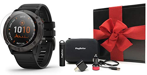 Garmin Fenix 6X Pro (Black with Black Band) Gift Box Bundle | +HD Screen Protectors, PlayBetter Portable...