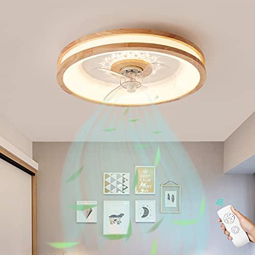 Luces De Techo De Madera Ventilador De Techo Con Luz Regulable Lámpara LED Ventilador Silencioso Lámpara Con Tiempo Mando A Distancia Velocidad De Viento Ajustable Para Sala De Estar Dormitorio