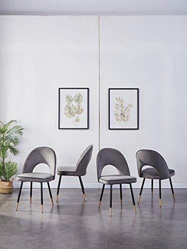 Sedie per sala da pranzo, cucina, soggiorno, set da 2/4/6 pezzi, in velluto morbido, seduta e schienale con gambe in metallo dorato, per casa e soggiorno (velluto grigio, 4)