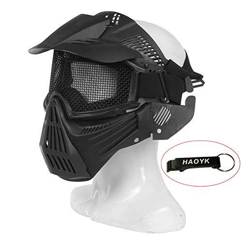 Airsoft-Maske, Maske für das ganze Gesicht, Mesh-Maske, Schutzmaske, Militärschutzmaske, ideal für Paintball / Halloween-Kostüm, von HaoYK, Schwarz