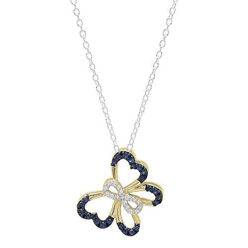 18K oro redondo azul zafiro y blanco diamante mujer infinito mariposa colgante