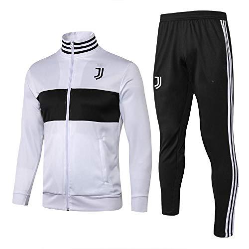 WXHMKGG Herren Weiß Fußballbekleidung Verein Team Uniform Langarm Jacke Trainingsanzug Wettkampfanzug M