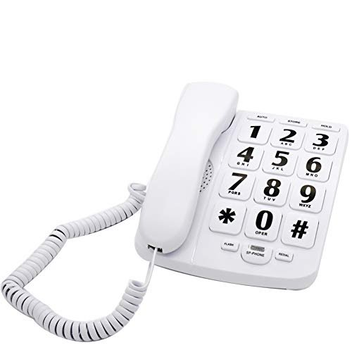 MuYuTec M-02W Large Button Landline Phone for Elderly Big Number Phones for Low Vision Amplified Corded Phone for Seniors Hearing Imparied Aid Wall Mountable