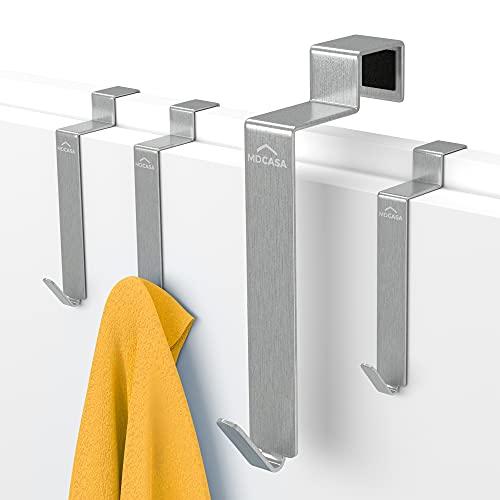 MDCASA Türhaken Edelstahl gebürstet für die Rückseite - 4 Stück - Kleiderhaken über Tür - Handtuchhalter - Türgarderobe - Badezimmerhaken