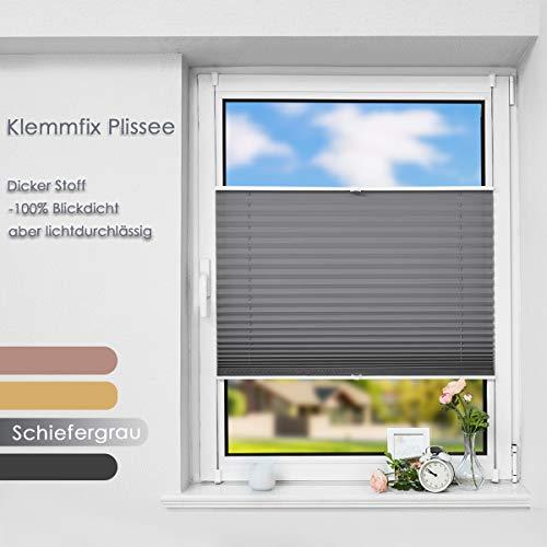 Premium Plissee ohne Bohren Plisee klemmfix (Schiefergrau, 90 x 130 cm) Plisseerollo Jalousien Rollos für Fenster, easyfix & verspannt, Sichtschutz & Sonnenschutz