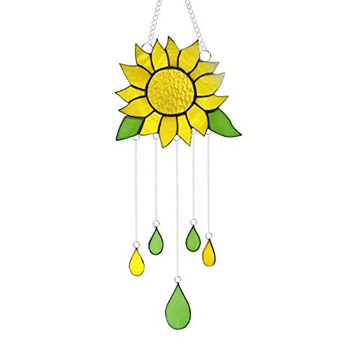 Delisouls Schöne Buntglas-Sonnenblume, Sonnenblumen-Buntglasscheibe, Fenster-Hängepaneel Dekoration mit Kette für Zuhause Ornament