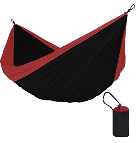 Mishuai Outdoor camping dubbele kleur bijpassende recreatieve hangmat Comfortabele parachute doek slaapzaal lunch pauze schommelstoel Zwart