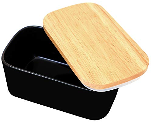 Large Butter Dish Ceramic Butter Container, Butter Dish with Wooden Lid Airtight Butter Keeper Easily Hold 2 Sticks of Butter, 500ml Butter Dish with Knife