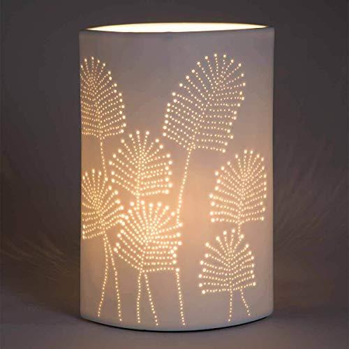 LUSSIOL Lampe de chevet Leaf ovale, Lampe décorative porcelaine, 40W, blanc, L L 18,5 x P 11,5 x H 23 cm