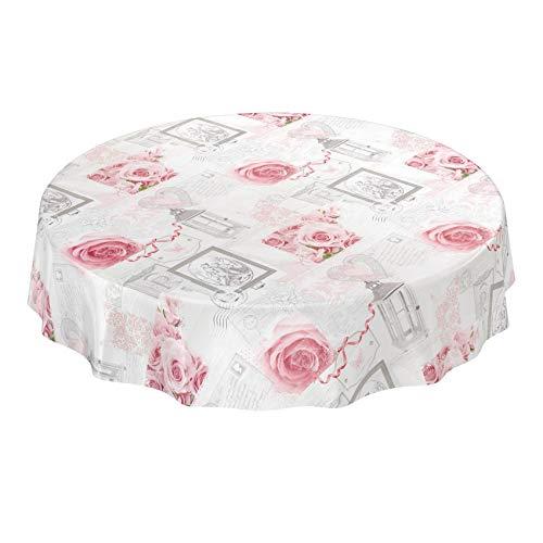 Anro - Mantel de Hule Encerado Lavable, diseño de Rosas rú