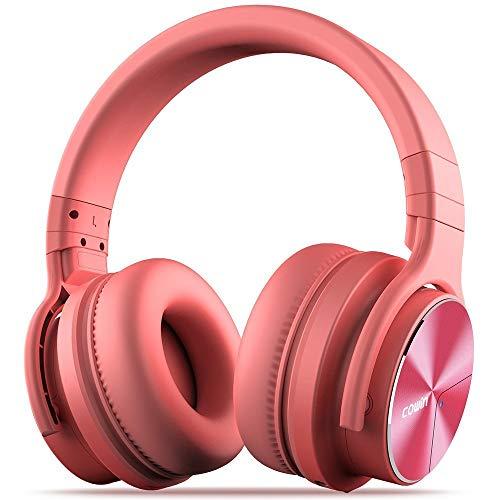 cowin E7 PRO Active Noise Cancelling Bluetooth Kopfhörer mit Mikrofon Hi-Fi Deep Bass Wireless Kopfhörer über Ohr 30H Spielzeit für Reisen Arbeit TV Computer Telefon (Pink)
