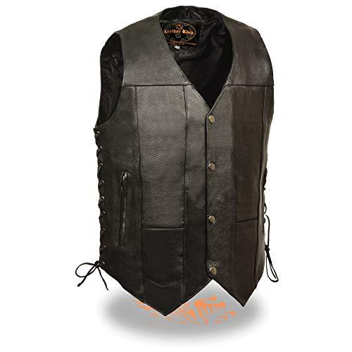 Milwaukee Leather SH1391 Men's Black Leather 10 Pocket Vest with Gun Pockets - 46