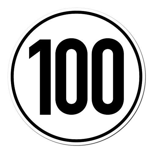 GreenIT Sticker 100 kmh km/h 20 cm schild snelheid voor sleeppers trekker multicar aanhanger voertuig vrachtwagen bus 20cm wit