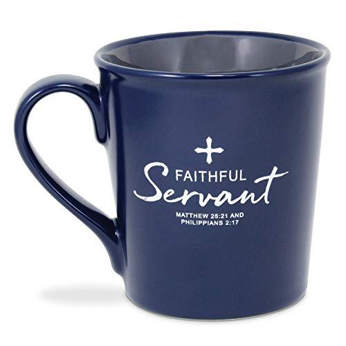 Lighthouse Christian Products Faithful Servant Navy Blue 16 Ounce Ceramic Mug