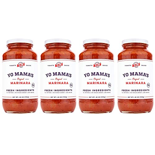 Keto Marinara Pasta and Pizza Sauce by Yo Mama's Foods - Pack of (4) - No Sugar Added, Low Carb, Low Sodium, Gluten Free, Paleo Friendly, and Made with Whole, Non-GMO Tomatoes.