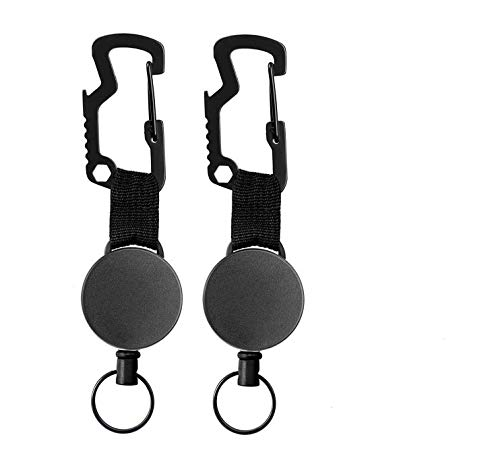 Porte Badge Enrouleur Retractable,Porte-clés Yoyo,Badges Reel,Mousqueton Multitool,Clip Porte Badge,Bobine Rétractable,Retractable Key Chain,Clip Porte Clef