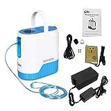 Vogvigo Concentrador de oxígeno 1-5L / min Máquina de oxígeno portátil ajustable para uso en el hogar y en el viaje con 10000 mAh Batería de litio