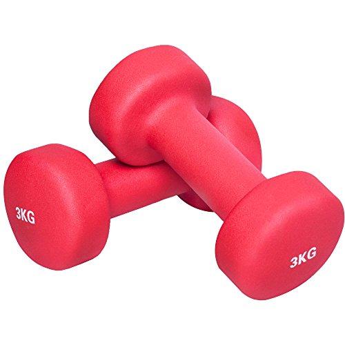 GORILLA SPORTS® Kurzhantel-Set Vinyl 1-10 kg für Gymnastik, Aerobic, Pilates Fitness – 2er-Set 6 kg - 2 x3 kg
