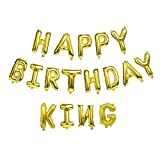 Happy Birthday King Gold Aluminum Foil Letters Balloons 16 Inch Aluminum Banner Balloons for Birthday Party Decorations Supplies