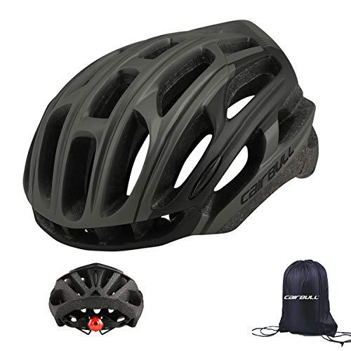 Cairbull Casco de Ciclismo para Hombre y Mujer (54-61 cm) con 29 Rejillas de ventilación, Ligero Casco de Bicicleta con lámpara LED, Unisex Adulto Ajustable
