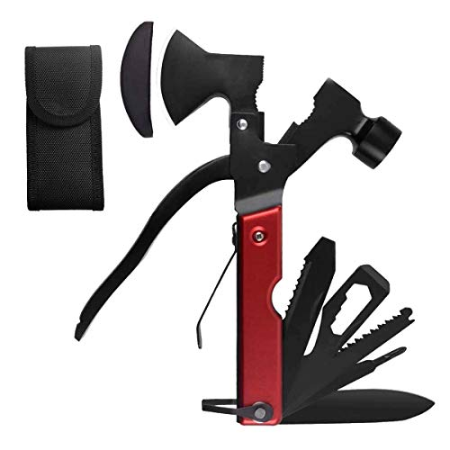 Multitool 18 in 1, Survival Messer Edelstahl Multifunktionswerkzeug,mit Hammer Axt Messer Zange Schraubendreher Säge Flaschenöffner,Taschenwerkzeug für Camping,Notfall im Freien, Geschenke für Mann